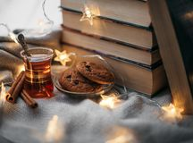 Home comfort with books stock photos