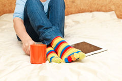 Home comfort with digital tablet royalty free stock photo