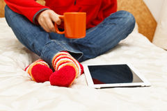 Home comfort with digital tablet Stock Photos