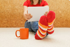 Home comfort with digital tablet Royalty Free Stock Image
