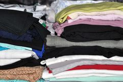 Storage of clothes and linen in the home closet. Home and comfort. storage of clothes and linen in the home closet royalty free stock photos