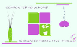 Home comfort, vector illustration. Little things for comfort of home. Vector Illustration Stock Images