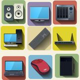 Home computer equipment set icons Royalty Free Stock Photo