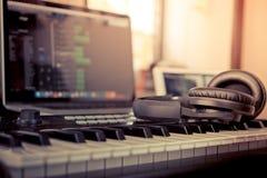 Home Computer music. Making computer programming Stock Photos
