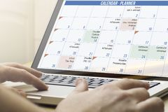 Home computing planner calendar Royalty Free Stock Images