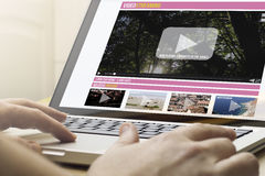 Home computing video streaming Royalty Free Stock Photo