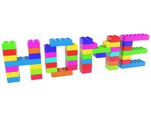 Home concept built from toy bricks.3d illustration. In backgrounds Stock Photos