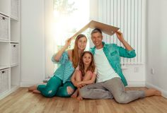 Home concept. Family dreaming of new home royalty free stock images