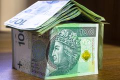 Home concept made from hundred zloty. Banknotes Royalty Free Stock Photos