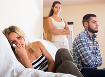 Home conflict among three young adults Royalty Free Stock Image