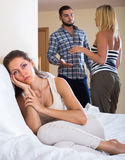 Home conflict among three young adults Stock Image