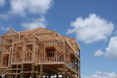 Home construction. New home on stilts under construction Royalty Free Stock Photo