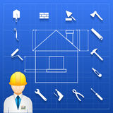 Home construction  builder and tools icons. Schematic infogram of a home under construction with an architect  engineer or builder in a hardhat and a variety of Stock Photo