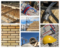 Home Construction Collage. Constructions site of a new residential building Stock Images