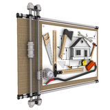 Home construction. Concept. The drawing of the house and construction tools lie on drawing board Royalty Free Stock Photography