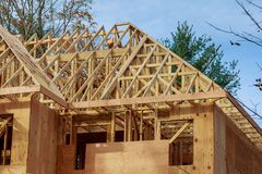 The house is new in wood roofing New Home Construction Royalty Free Stock Image