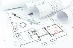 Home construction plans and pencil Royalty Free Stock Photography