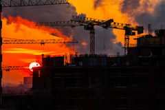 Home construction. sunset. Royalty Free Stock Photos