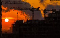 Home construction. sunset. Royalty Free Stock Image