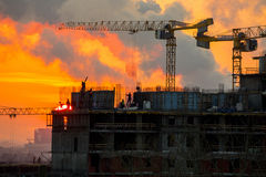 Home construction. sunset. Royalty Free Stock Photo