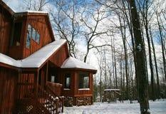 HOME contemporânea rústica nas madeiras foto de stock royalty free