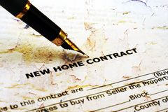 Home contract. CLose up of Home contract Royalty Free Stock Photos