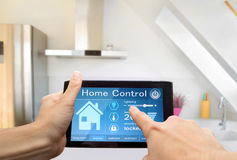 Home control device tablet. Home interior control device tablet Royalty Free Stock Photos