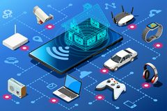 Home control panel on mobile device. Small mobile device as home energy control panel. Eficiency abstract concept. Isometric infographic illustration. Vector Stock Images