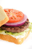 Home cooked hamburger Stock Photography