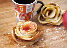 Home cooking – rose-shaped apple tarts Royalty Free Stock Images