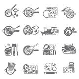 Home cooking black icons set. Healthy home cooking concept flat icons set with vegetables meat and fish dishes abstract  vector illustration Stock Photography
