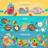 Home cooking flat banners set Stock Photos