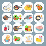 Home cooking flat icons set Royalty Free Stock Image