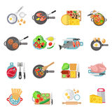 Home cooking flat icons set Stock Image