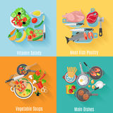 Home cooking 4 flat icons square banner Royalty Free Stock Images