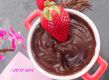 Home cooking, fresh juicy strawberries with melted dark chocolate Stock Images
