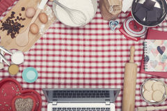 Home cooking laptop hero header Royalty Free Stock Photography