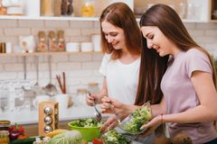 Home cooking leisure evening relaxation females. Home cooking leisure. Evening relaxation. Two young females making green salad. Talking and smiling stock photo