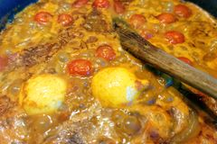Home Cooking of a Lentil Casserole royalty free stock photos
