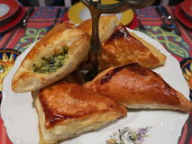 Home cooking. Oriental Starters. Stuffed puff pastry Stock Photo