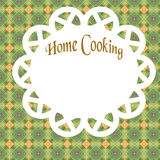 Home cooking poster. Green table cloth and doily homey illustration Stock Image