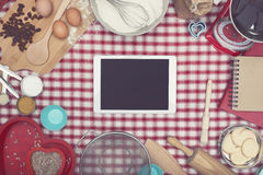 Home cooking tablet hero header Stock Photography