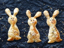 Home cooking. Traditional Easter brunch - Easter bunnies biscuit - close-up Stock Image