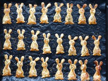 Home cooking. Traditional Easter brunch - Easter bunnies biscuit - close-up Royalty Free Stock Photos
