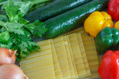 Home Cooking - Vegetarian Lasagne Ingredients Royalty Free Stock Image