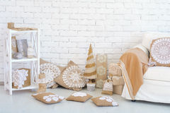 Home corner Christmas decoration ideas Royalty Free Stock Images