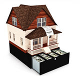 Home costs concept. Building ,buying, renting, loan, repairs, renovation , insurance ect. Home on the top of a register with sales receipt coming out of the Royalty Free Stock Photos