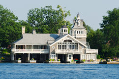 Home or cottage near Alexandria Bay. Beautiful home or cottage with lattice work on the St. Lawrence seaway near Alexandria Bay, New York, USA Royalty Free Stock Image