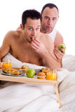 Home couple eating healthy stock photo