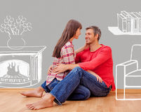 Home couple sitting Royalty Free Stock Photo